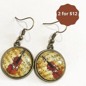 Simple French Hook Earrings Bronze Ephemera Music